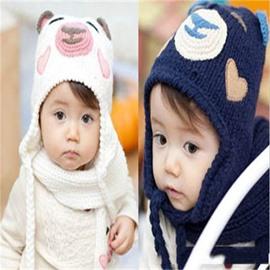 Little Bear Shaped Simple Style Yarn Multi-Color Kids Hat