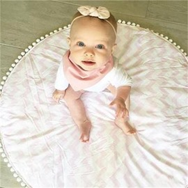 Pompoms Decoration Waves Pattern Rounded Cotton Baby Floor Mat/Crawling Pad
