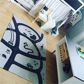Roads Pattern Rectangular Cotton Baby Floor Mat/Crawling Pad