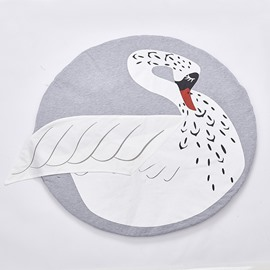 Swan Printed Rounded Cotton White Baby Play Floor Mat/Crawling Pad