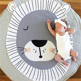 Lion Printed Rounded Cotton Gray Baby Play Floor Mat/Crawling Pad