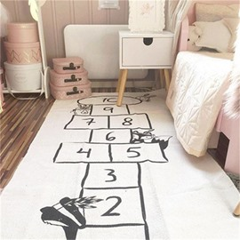 Checkers Game Rectangular Cotton Baby Play Floor Mat/Crawling Pad