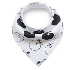 12*12in Apples Printed Simple Style Cotton White Baby Bib