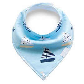 12*12in Sailing Boats Printed Simple Style Cotton Blue Baby Bib