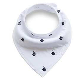 12*12in Little Boats Printed Simple Style Cotton White Baby Bib