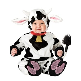 Diary Cow Shaped Tails Decoration Polyester Black and White Baby Costume