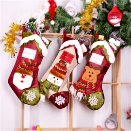 Snowflake Decoration Classic Non-Woven Fabric and Wool Red Christmas Stocking