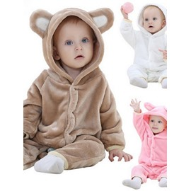 Bear Shaped Multi-Color Velvet Baby Jumpsuit