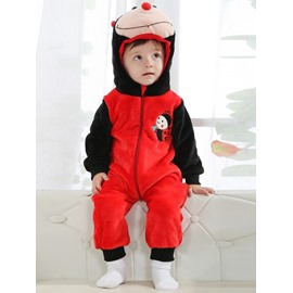 3D Cute Little ladybird Shaped Red and Black Polyester Baby Jumpsuit