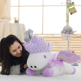 Purple Unicorn Shaped White Cotton Throw Pillow/Plush Toy