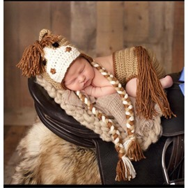 Horse Pattern Woolen Baby Hat Photo Prop