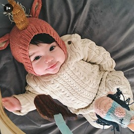 Unicorn Pattern Woolen Baby Hat Photo Prop Decoration