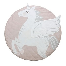 Pink Unicorn Printed Rounded Cotton Baby Play Floor Mat/Crawling Pad