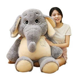 Gray Elephant Shaped Cotton Throw Pillow/Plush Toy