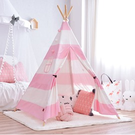 Cute And Princess Style Cotton Cloth Pink And White Kids Play Indoor Tent