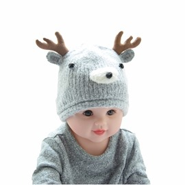 Cute Elk Modelling Woolen Yarn Material Knit Warm Keep Baby Hat