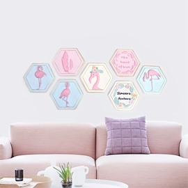 Environment Friendly Resin Material Multiple Combinations Flamingo Kid Room Wall Print