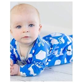 Blue Cactus Pattern Long Sleeve Cotton Material Zipper Infant Jumpsuit/ Baby Bodysuit
