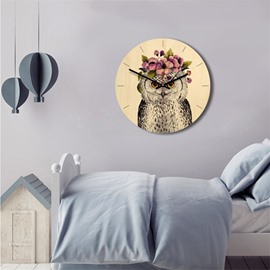 11*11*1.6in Cartoon Owl Pattern Wood Material Kids Room Decor Mute Wall Clock