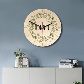 Plants Pattern Wood Material Kids Room Decor Mute Wall Clock