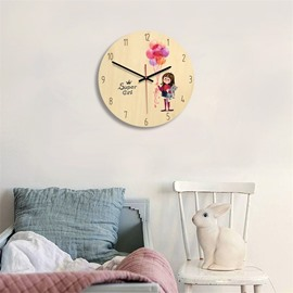 Cartoon Little Girl And Balloon Pattern Wood Material Kids Room Decor Mute Wall Clock