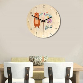 Creative Animals Pattern Wood Material Kids Room Decor Mute Wall Clock
