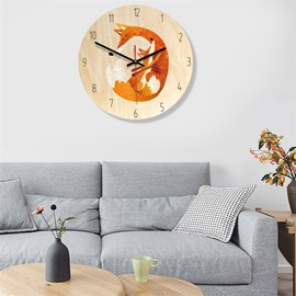 4 Choice Fox Pattern 11*11*1.6in Wood Material Kids Room Decor Mute Wall Clock