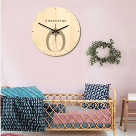 Nordic Style Cartoon Animals Pattern Wood Material Kids Room Decor Mute Wall Clock