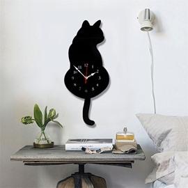 DIY Cute 2 Cats Pattern Environment Friendly Acrylic Material Kids Room Decor Mute Wall Clock