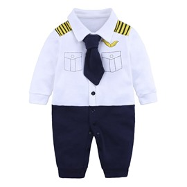 Long Sleeve Uniform Style Cotton Material Fastener Infant Jumpsuit/ Baby Bodysuit