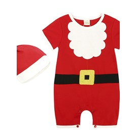Unisex Baby Short Sleeve Plaid Christmas Lovely Bodysuit