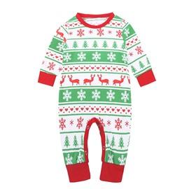 Baby Rompers Bodysuit Newborn Baby Christmas Deer Printing Green Jumpsuit