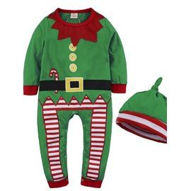Toddler Boys Girls Christmas Costume Romper Props Jumpsuit+Hat