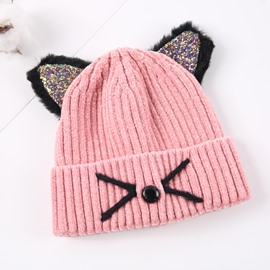 Domed Knitted Brimless Cat-ear Hemming Woolen Yarn Materials Baby Hat