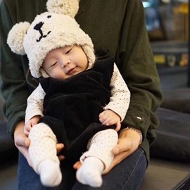 Cute Domed Knitted Brimless Earflap with Pompons Polar Fleece Baby Hat