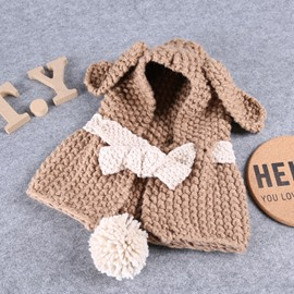 Bunny-ear Domed Knitted Brimless Hooded Cape with Pompon Baby Hat