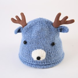 Cute Domed Knitted Brimless Deer-ear Winter Baby Hat