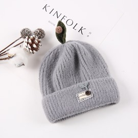 Domed Knitted Brimless Winter Hat with Leaves Patch Embroidered Hemming Baby Hat