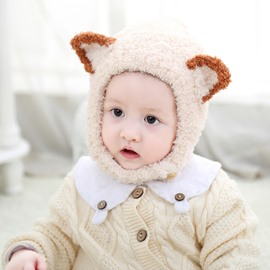 Cute Fox Knitted Brimless Cone Polar Fleece Baby Hat