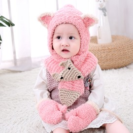 Domed Knitted Brimless Hat Scarf Gloves Three-Piece Set Polar Fleece Baby Hat