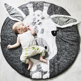 Giraffe Pattern Grey Round Cotton Soft Baby Play Floor Mat/Crawling Pad