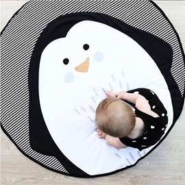 Penguin Pattern Grey And Pink Cotton Soft Baby Play Floor Mat/Crawling Pad