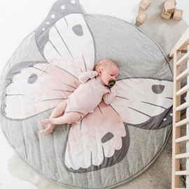Butterfly Pattern Grey And Pink Cotton Soft Baby Play Floor Mat/Crawling Pad