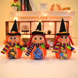 3 Pattern Cute Cartoon Halloween Witch Cloth Material Candy Bag