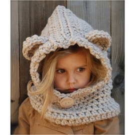 Two Color Acrylic Fiber Crochet Knitted Kids Outdoor Warm Cape Hat