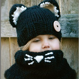 Cute Cats Three Color Acrylic Fiber Knitted Kids Hat And Scarf