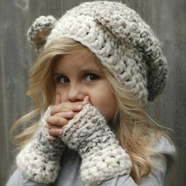 Creative Knitted Kids Outdoor Warm Hat And Glove
