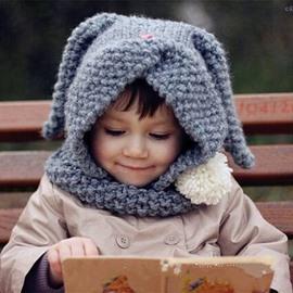 Cute Rabbit Shape Cape Acrylic Fiber Outdoor Warm Kids Hat