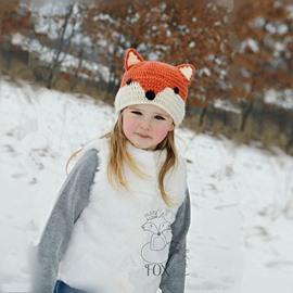 Cute Fox Shape Acrylic Fiber Outdoor Warm Kids Hat