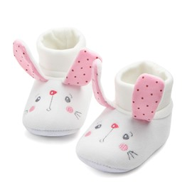 White Cute Rabbit Pattern Baby Warm Cotton Anti-Slip First Walkers Shoes